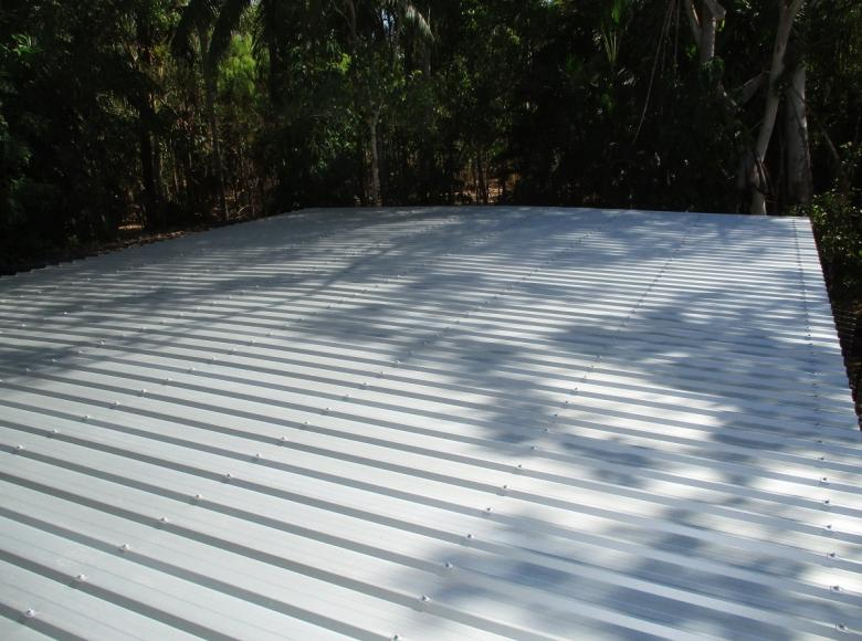 Install new tin and flashings to shed.